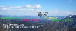 三峰山山頂より秩父市中心市街地を望む